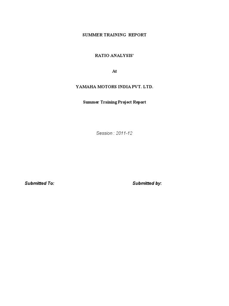 Yamaha Motors India Pvt  Ltd  - Ratio Analysis   Financial Capital