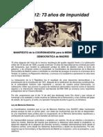 Manifiesto de la  Coordinadora para la Memoria Histórica y Democrática de Madrid