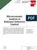 Microeconomic Analysis of Ballarpur Industries Limited