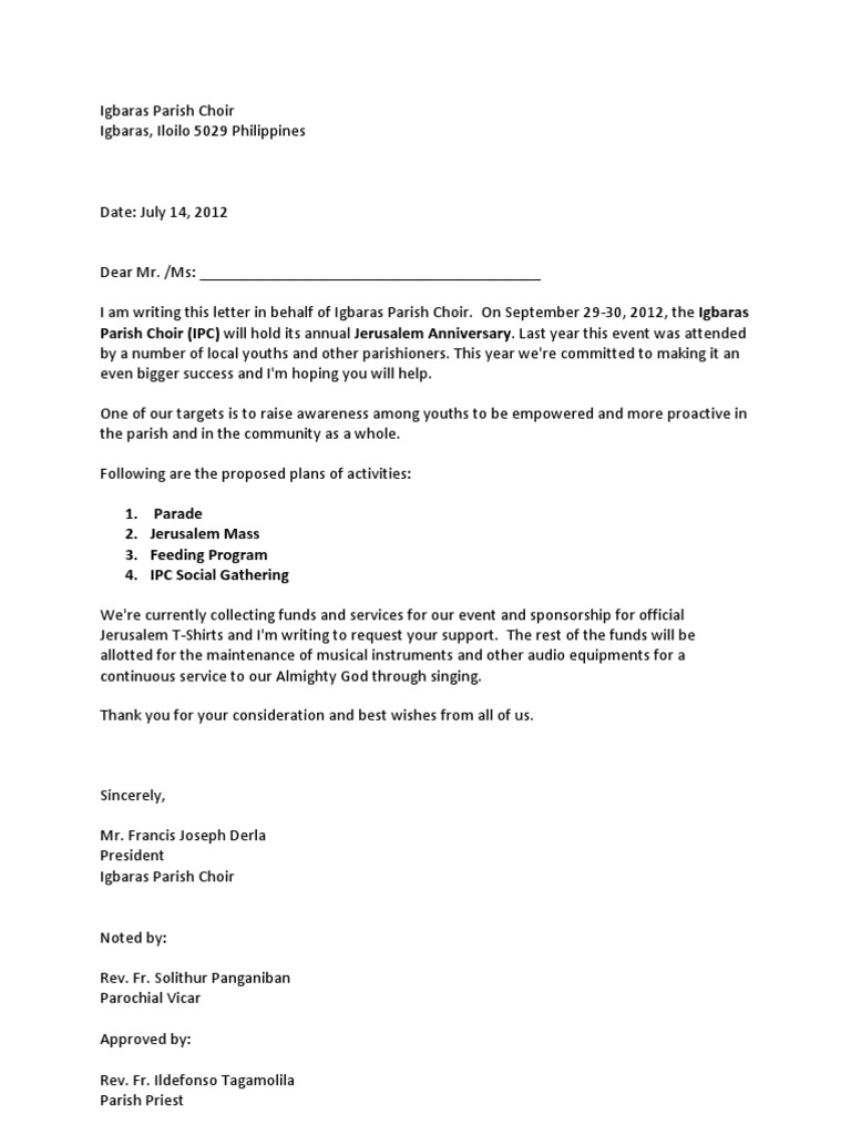 Solicitation Letter Youth Camp