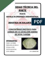 Concentrado Proteico Para Cerdos de 5 a 10 Kg.con Harina de Soya y Avena