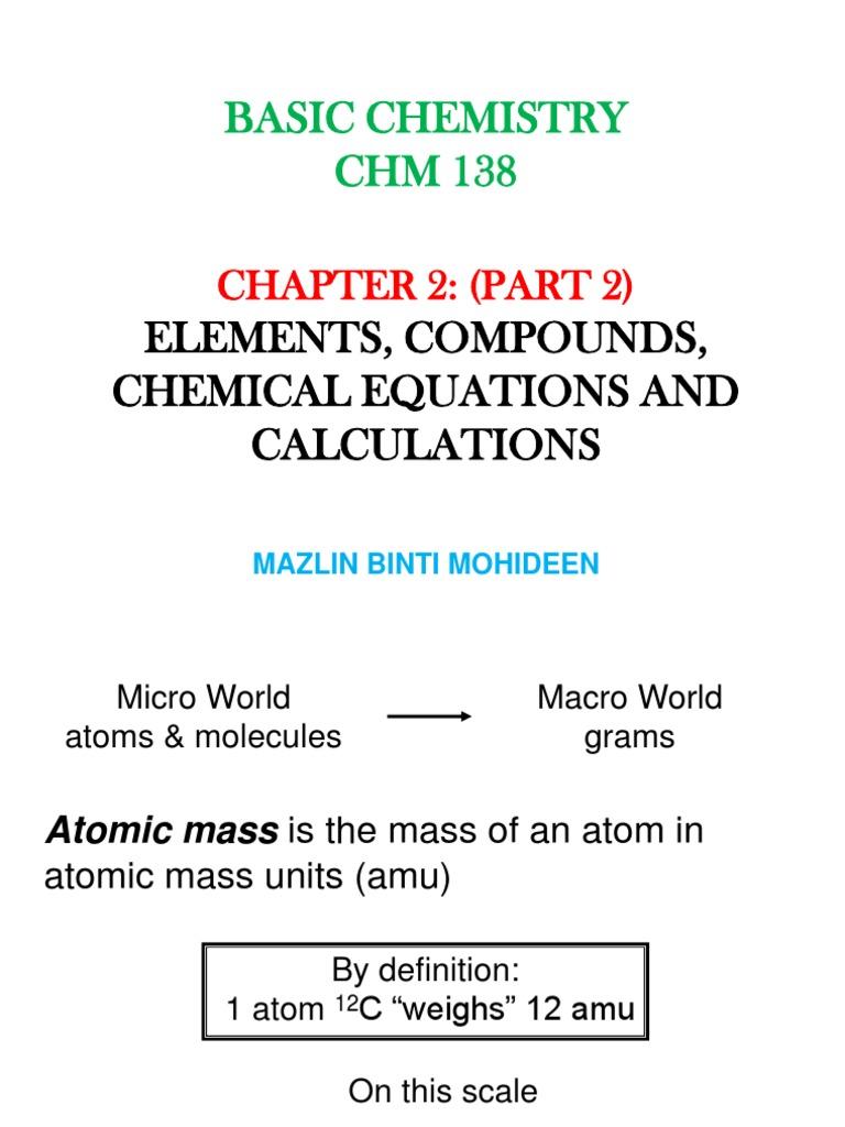 Chap  Elements Compounds Chemical Equations And Calculations Mole Unit Oxygen