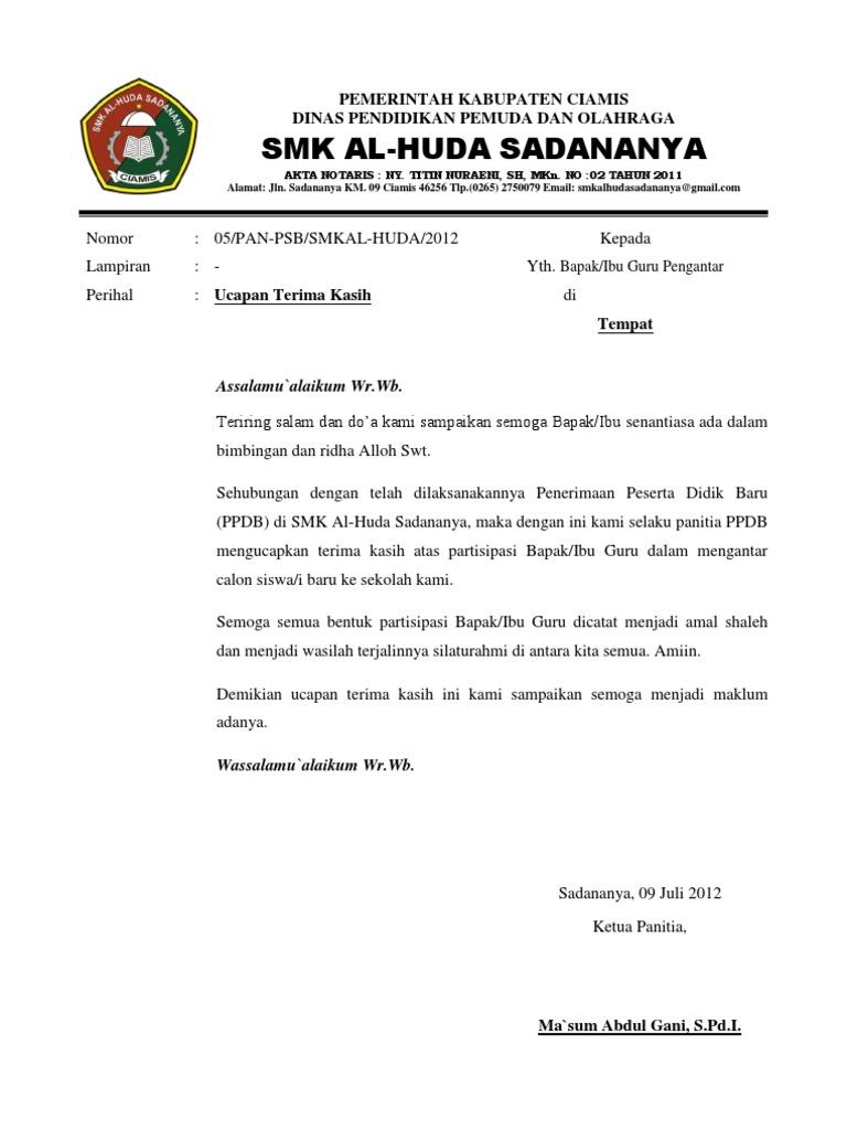 Contoh Surat Rasmi Ucapan Terima Kasih Kepada Menteri Rasmi Re