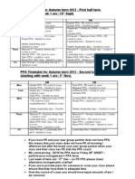 PPA Timetable for Autumn Term 2012