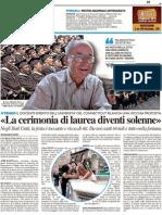 """""""La cerimonia di laurea diventi solenne"""" - Il Resto del Carlino del 14 luglio 2012"""