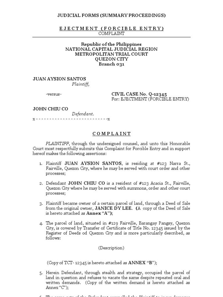 Summary Proceedings Eviction Lawsuit