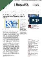 2012 - Giugno 12 - Il Messaggero - Radio Vaticana Taglia Le Trasmissioni in Onde Medie