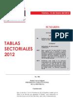 Tabla de remuneración sectorial 2012