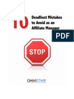 Ten Deadliest Mistakes to Avoid as an Affiliate Manager