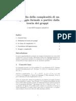 Lo studio della complessità di un linguaggio formale a partire dalla teoria dei gruppi