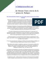 Monumento a Moreno Nieto a Traves de La Prensa de Badajoz