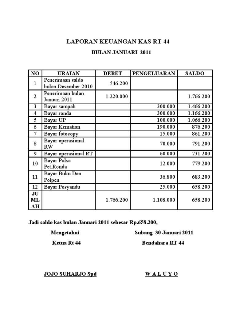 Laporan Keuangan Kas Rt Docx