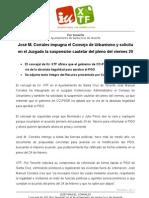 José M. Corrales impugna el Consejo de Urbanismo y solicita en el Juzgado la suspensión cautelar del pleno del viernes 20