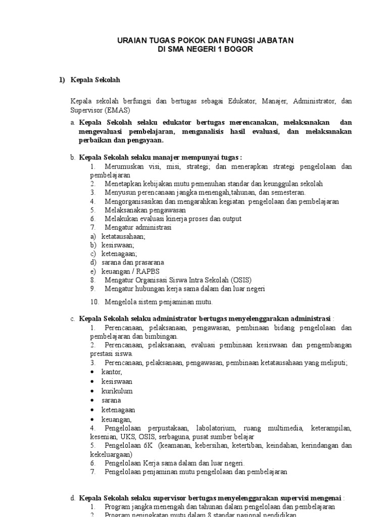 Deskripsi Pembagian Tugas Tim Manajemen Sekolah