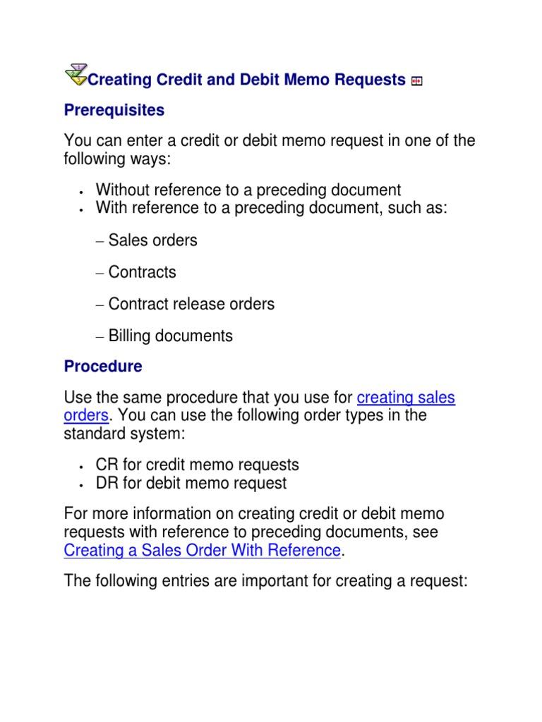 credit memo request invoice debits and credits
