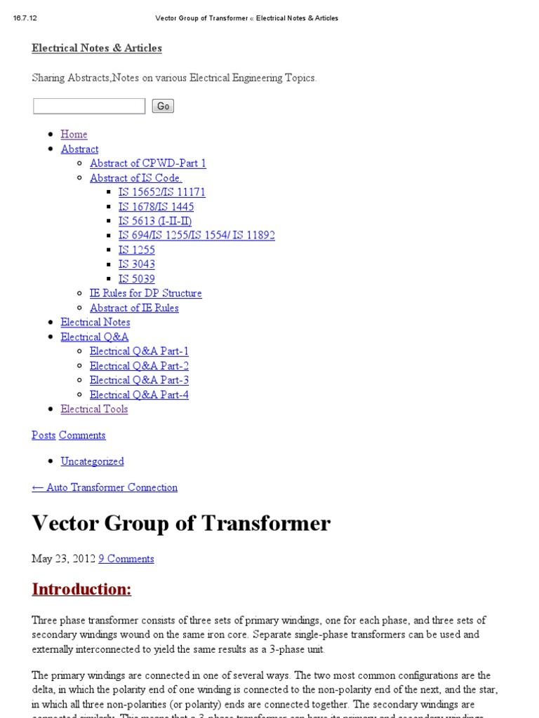 Vector Group of Transformer « Electrical Notes & Articles | Transformer |  Electrical Engineering