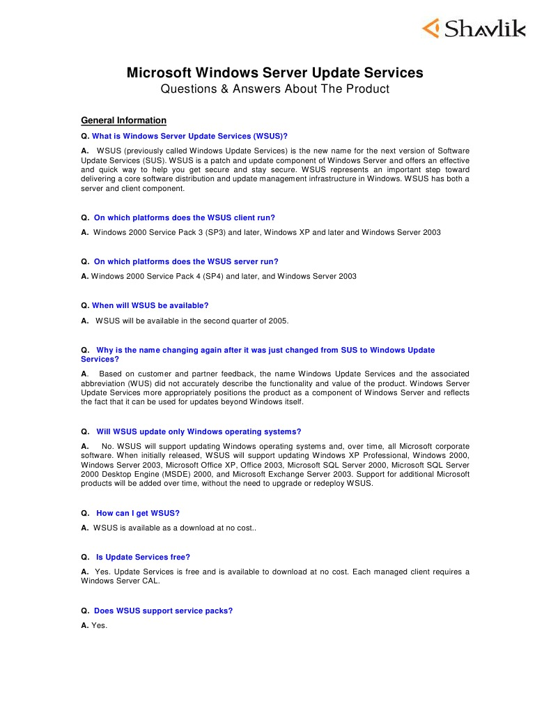 Microsoft WSUS QA 5 05   Microsoft Windows   Windows 2000