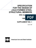 Aisi Specifications Supplement 1 - 1996 Specification for the Design of Cold-Formed Steel Structural Members