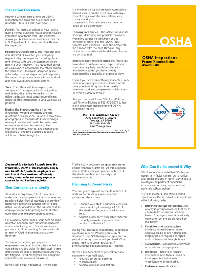 OSHA Inspections Proper Planning | Occupational Safety And