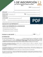 Ficha de Inscripción Modelo Junior 2012