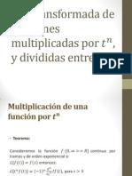3.7 Transformadas de Funciones Multiplicadas Por Tn y Dividivas Entre t