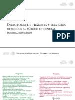 Directorio de Tramites y Servicios Que Brinda La Delegacion en Nayarit de La STPS