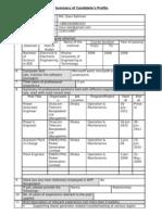 Summary of Candidates Profile