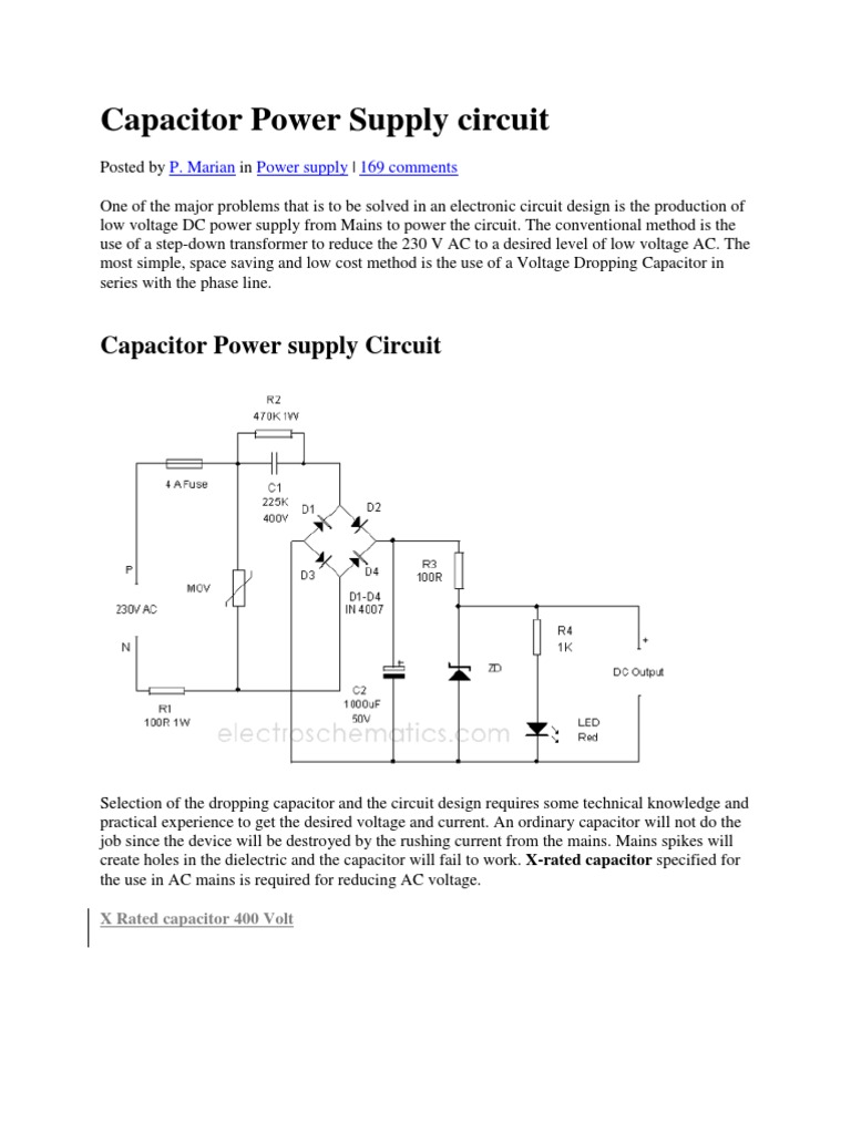 Capacitor Power Supply Circuit Rectifier Led
