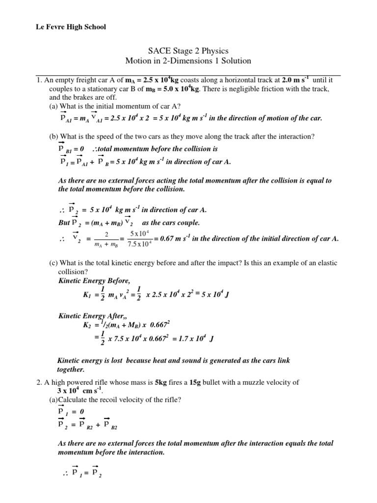 worksheet Chemistry Dimensions 2 Worksheet Solutions worksheet momentum in 2 dimensions 1 solution collision momentum
