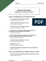 Resumen Prensa CEU-UCH 18 de julio 2012