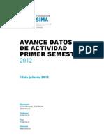 Avance datos de actividad Fundación SIMA primer semestre 2012