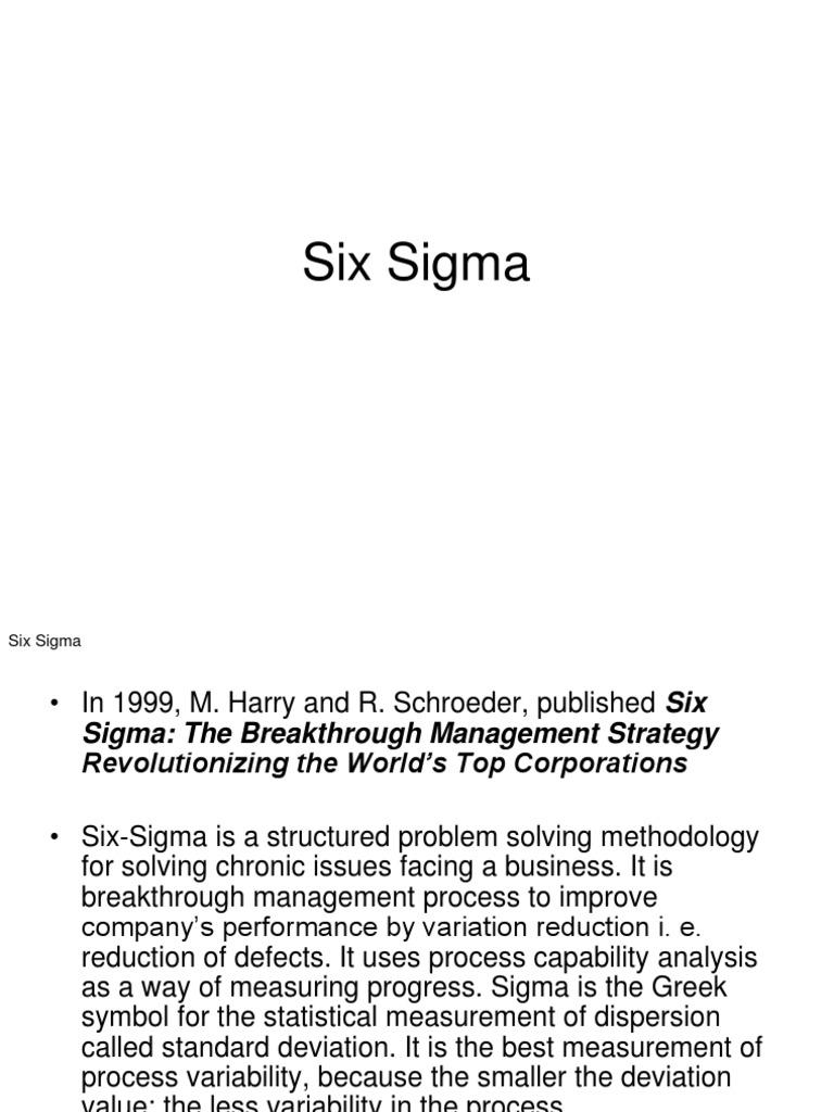 Six Sigma Six Sigma Standard Deviation