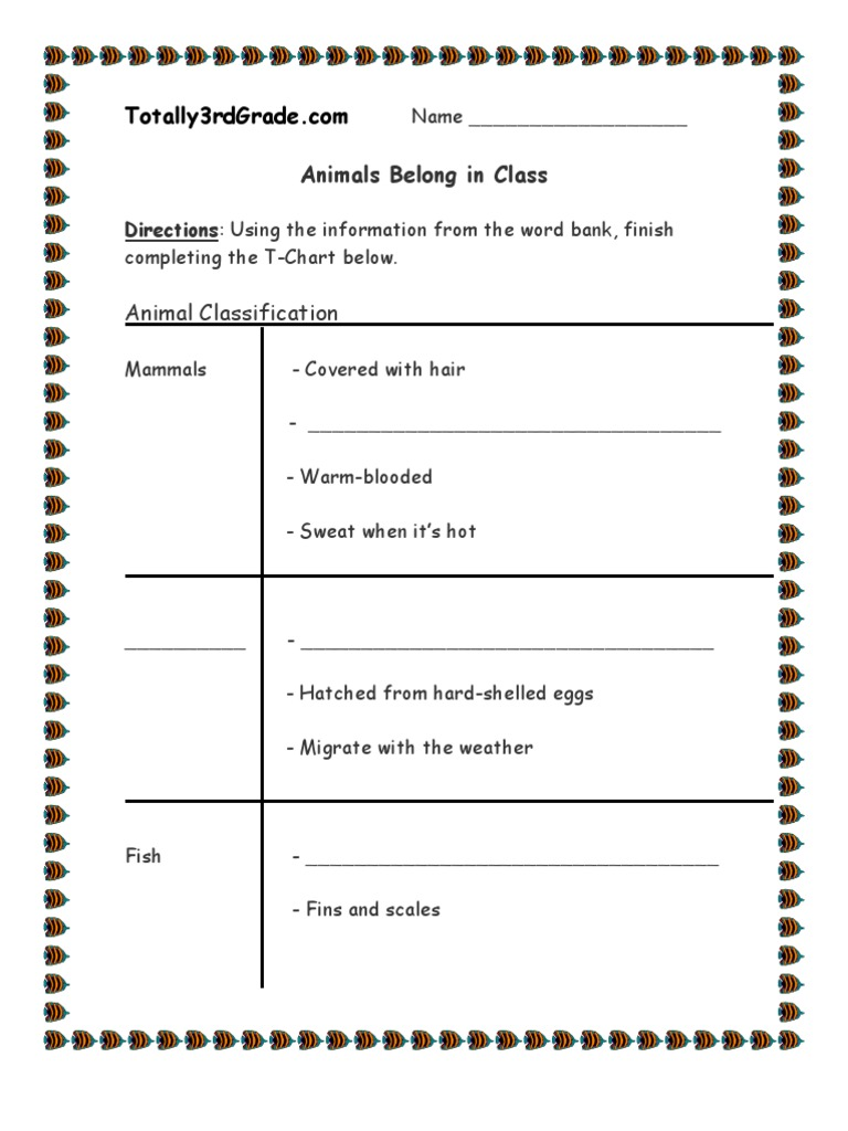 Uncategorized Animal Classification Worksheet 3rd grade animal classification worksheet