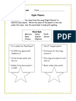 3rd Grade | Eight Planets Worksheet