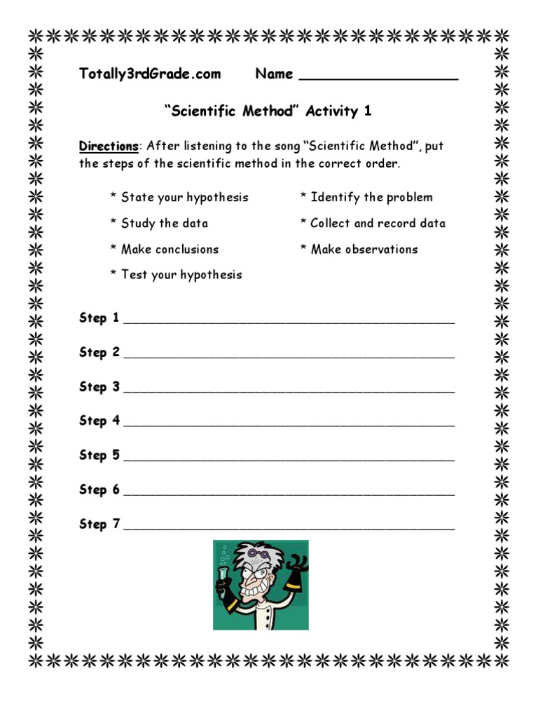 Scientific Method Worksheets For 3rd Grade : Worksheet the scientific method grass fedjp