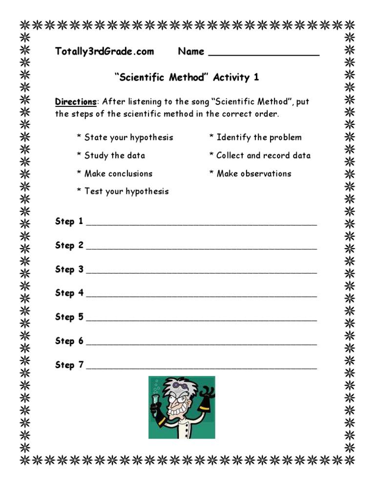 3rd Grade – Steps of the Scientific Method Worksheet