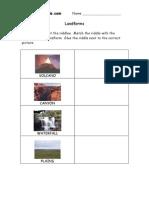 3rd Grade | Landforms Worksheet