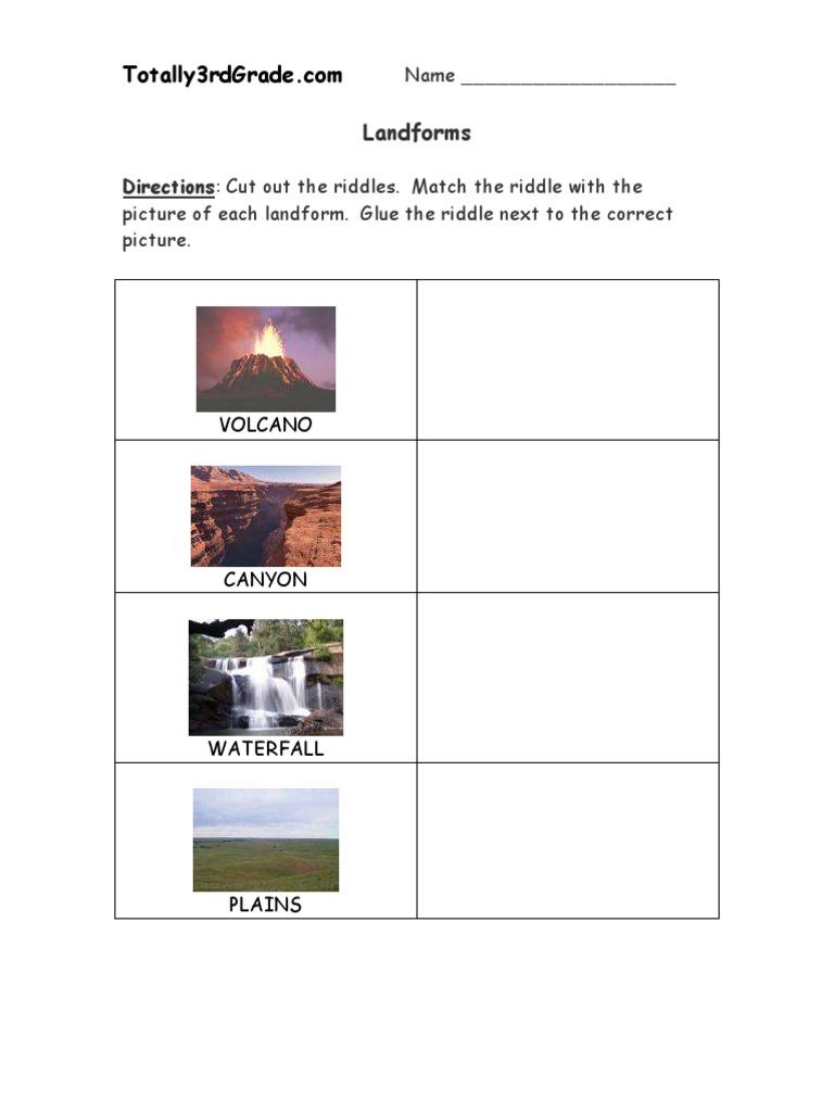 Worksheets Landforms Worksheet 3rd grade landforms worksheet volcano mountains