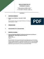 Council Agenda for Regular Meeting