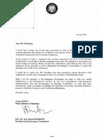 Scrisoarea lui Victor Ponta catre Barroso