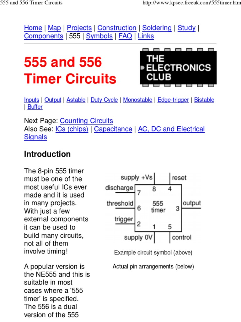 555 And 556 Timer Circuits Capacitor Series Parallel The Monostable Circuit