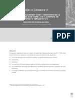 DS N°77 Reglamento Complementario de la Ley N° 17.798, que Establece el Control de Armas y Explosivos