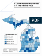 Map of percentage of taxable value is from PPT by county in Michigan