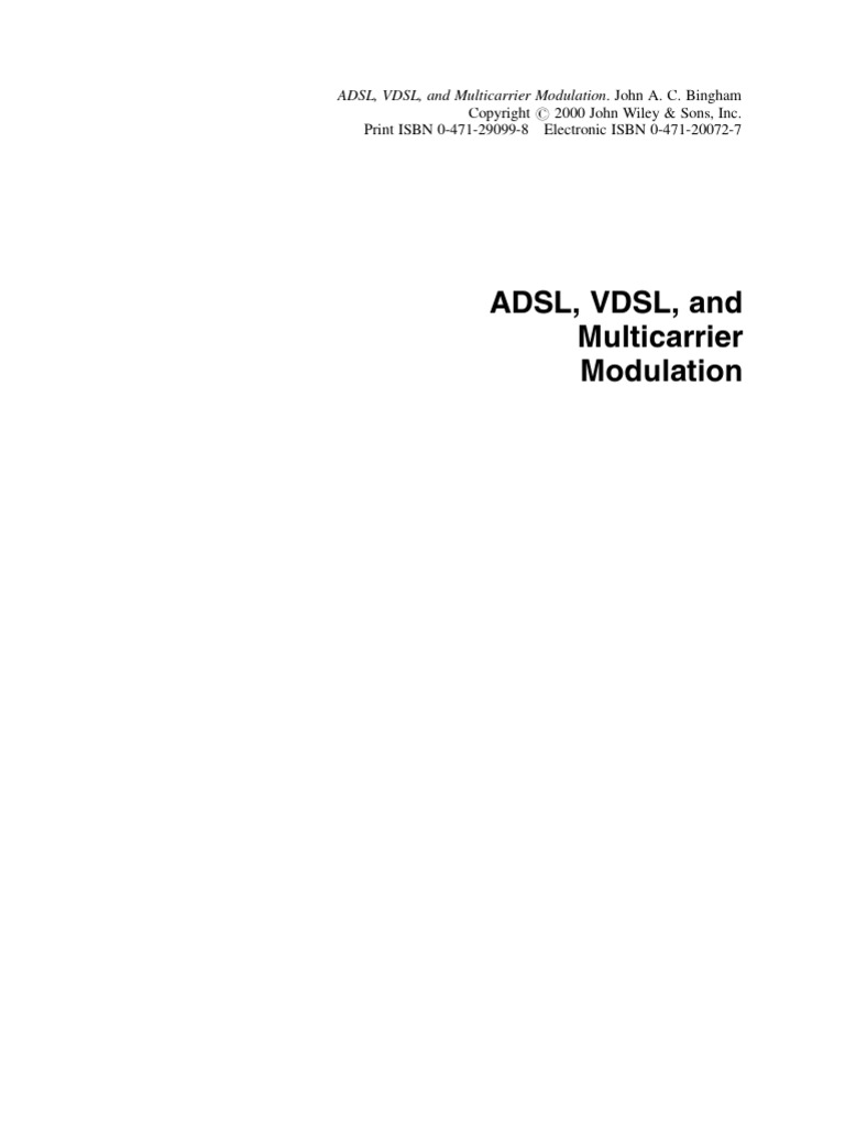 Adsl Vdsl And Multicarrier Modulation Asynchronous Transfer Mode Wiring Diagram For Ec2 With Ls1 Coils Orthogonal Frequency Division Multiplexing