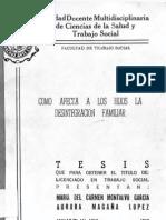 Tesis Como Afecta a Los Hijos La Desintegracion Familiar