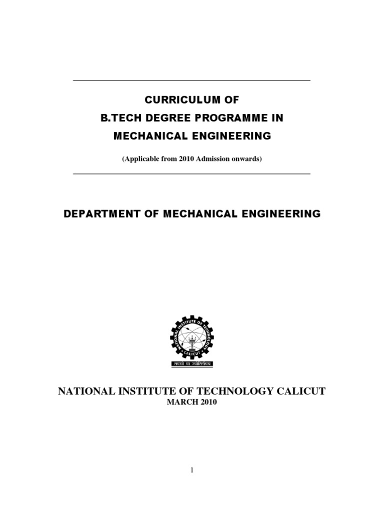 Nitc Mechanical Btech Syllabus And Curriculum Fracture Mechanics Electro Plate Circuitry Dragon Circuitselectro Deformation Engineering