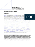 Ethical issues in organisational culture