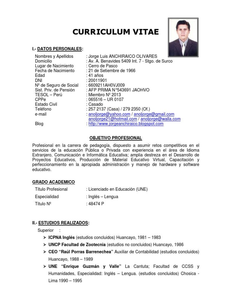 Contemporáneo Formato De Curriculum Vitae Asistente Contable ...