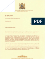 Letter to Rep. Joseph Crowley from Gábor Vona