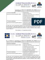Convocatoria Acto Comienzo de Curso 2012-2013